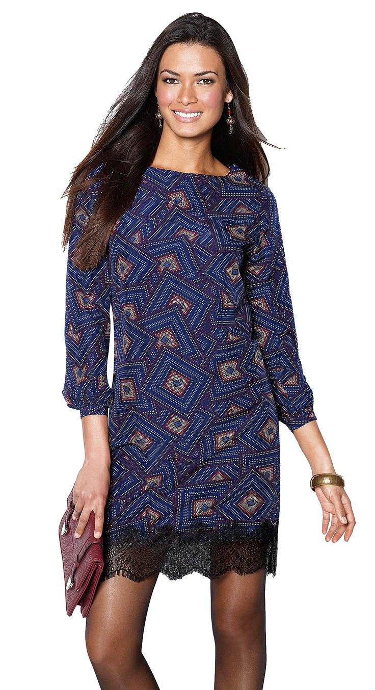 Printed dress with lace details