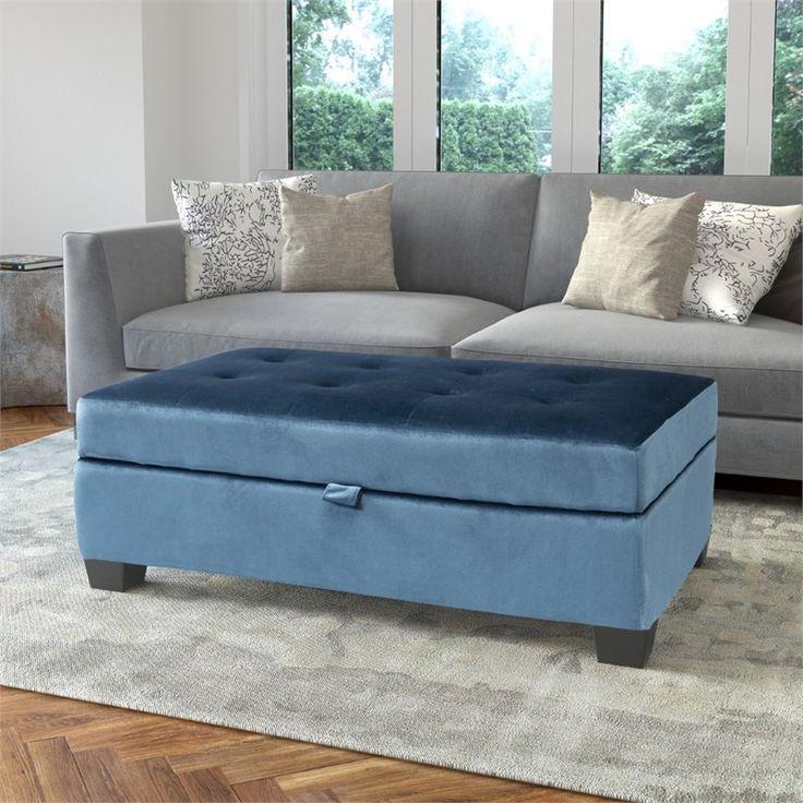 ottoman for living room%0A Blue Velvet Like Fabric Storage Ottoman