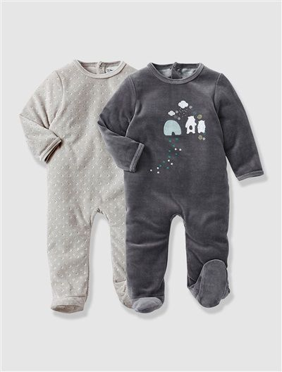 Pack of 2 Baby's Velour Sleepsuits GREY DARK SOLID WITH DESIGN - vertbaudet enfant