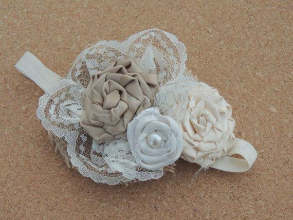 Ivory & Beige headband, Vintage flower girl headband, Burlap Headband