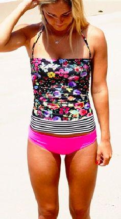 Floral & Black / White Stripe Trestle Top. Tankini TopStriped TankiniSwim  ...