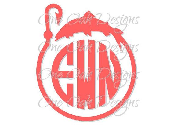Fish Hook Circle Monogram Frame Cut File SVG Vector PDF DXF for Cameo Silhouette Studio Software V2 V3 Cricut & others Vinyl decal, Die Cut