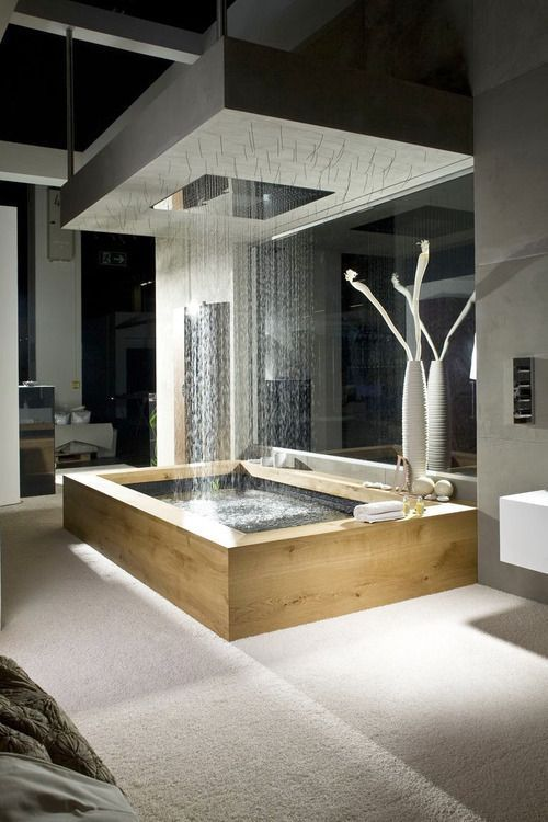 Next level: rain tub. ✧ #architecture #bathroom #design #home #house #decor #modern #luxury #penthouse
