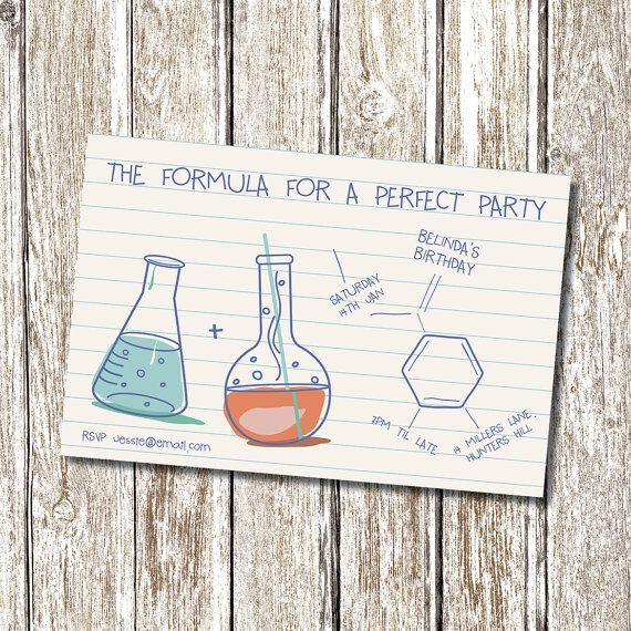 Science Chemistry Birthday Invitation Printable by deedubdesigns, $9.50