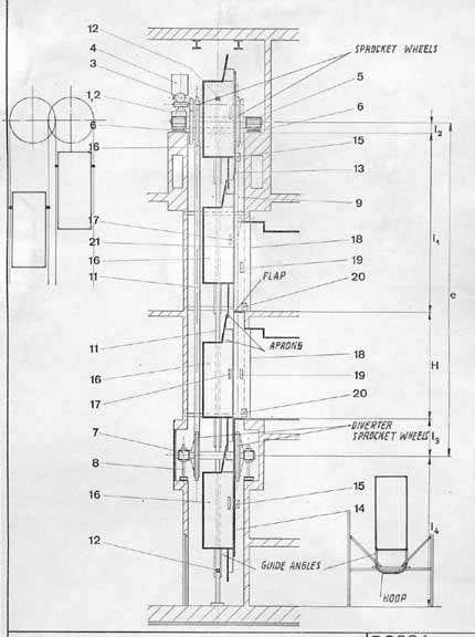Afbeeldingsresultaat voor paternoster elevator drawing