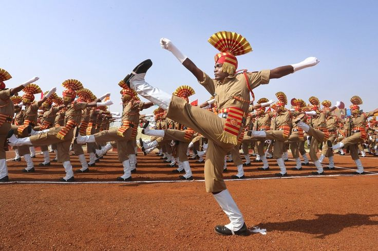 Week of May 29, 2015 Members of the Central Armed Police Forces parade at their training headquarters near Bhopal, India, as part of a convocation Thursday.     SANJEEV GUPTA/EUROPEAN PRESSPHOTO AGENCY