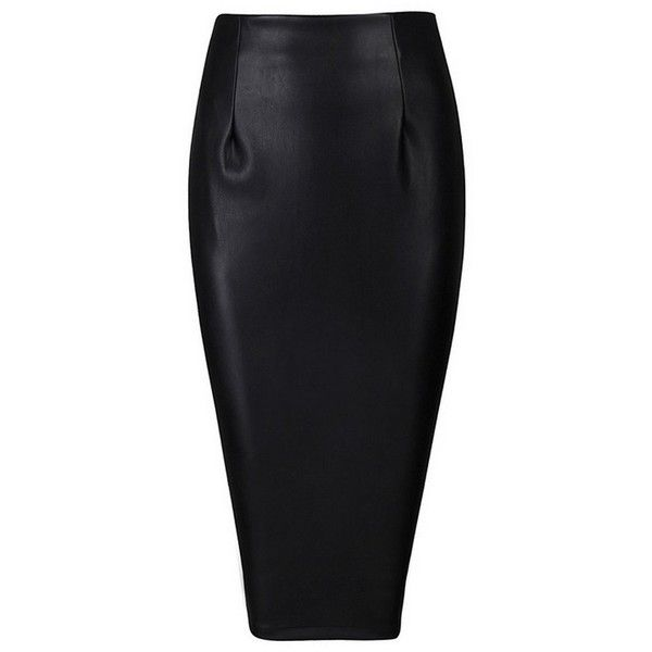 Honey couture jayda vegan leather black pencil skirt (890 HRK) ❤ liked on Polyvore featuring skirts, fake leather skirt, sexy pencil skirt, knee length pencil skirt, sexy skirt and zip up pencil skirt