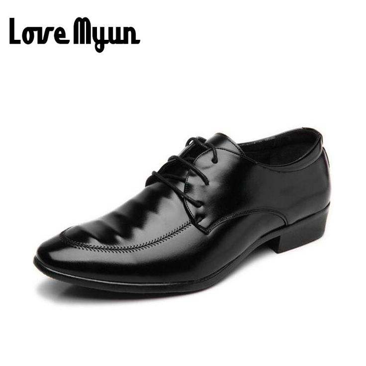 >> Click to Buy << Cheapest Mature mens dress black shoes mens pu leather Oxfords business wedding shoes lace up Pointed toe leather flats AB-29 #Affiliate