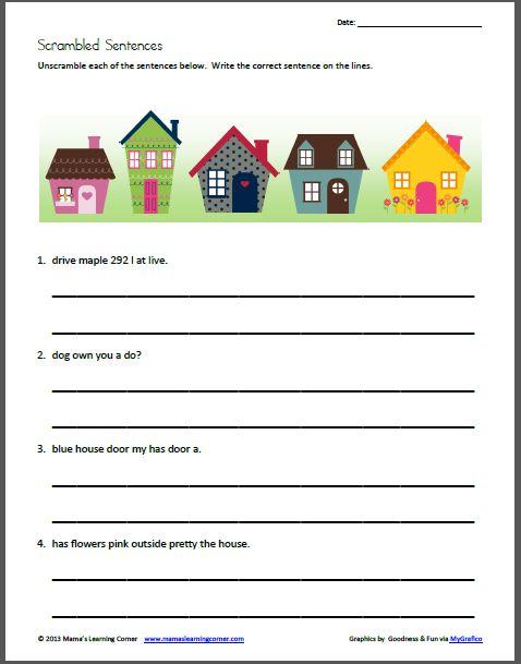 Scrambled Sentences My Neighborhood For 1st 2nd Graders Best Of