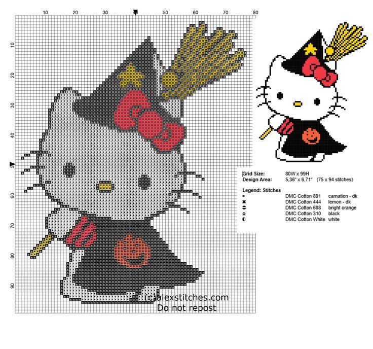 Cross stitch pattern Hello Kitty Halloween Witch