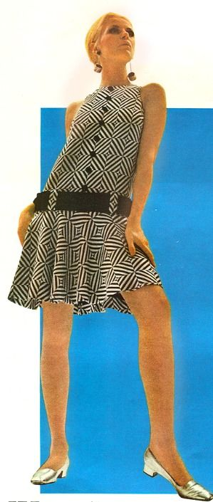 Mod 1960's Fashion. <3 I remember this style for sure..only mine was Grey checks with a wide Grey pattin leather belt..