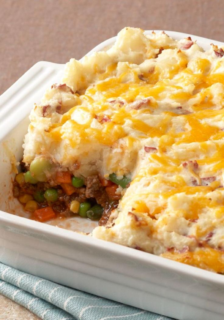 Updated Shepherd's Pie – This great-tasting low-calorie version of a traditional shepherd's pie is made with better-for-you ingredients. What if you made the potato part with either 1/2 mashed cauliflower or all mashed cauliflower?!