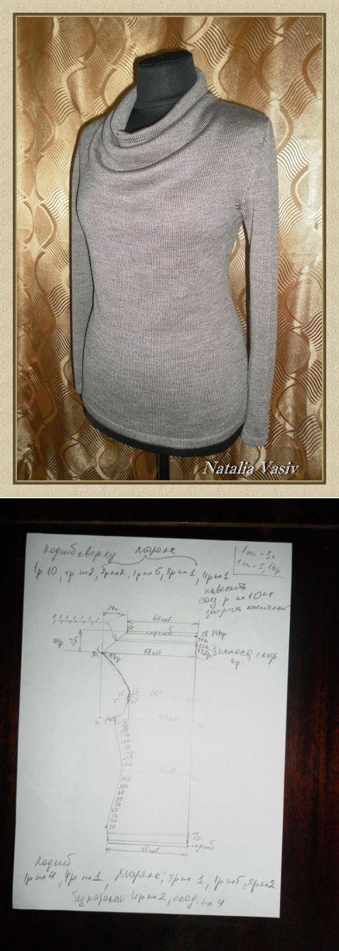 """Пуловер с горловиной """"качели"""", пряжа слонимская в 3 сл. от Наташи Васив"""
