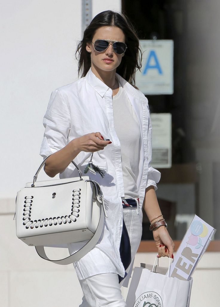 Tone on tone with the gorgeous Alessandra Ambrosio spotted carrying her new Fendi DotCom bag. Make it yours on fendi.com
