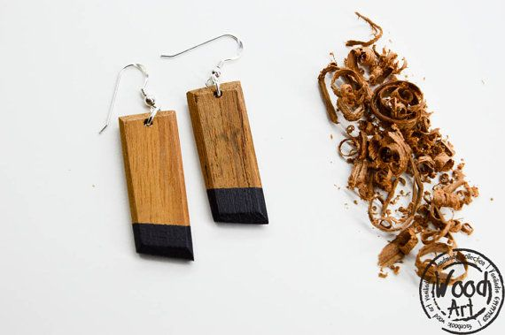 Minimalistic Wood Earrings Wood Drop Earrings by TheWoodArtShop