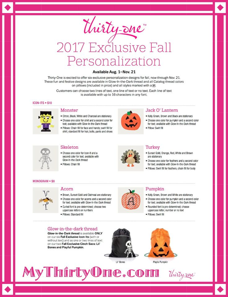 "Thirty-One Personalization for Fall 2017... Offering a variety of personalization options is what sets Thirty-One apart. Personalization turns a bag or tote into a keepsake – it's what puts the ""Gifts"" in Thirty-One Gifts. Check out all the personalization and Icon-It's options at MyThirtyOne.com."