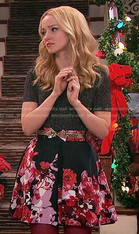 Liv's black and pink floral skirt and metallic top on Liv and Maddie.  Outfit Details: http://wornontv.net/54675/ #LivandMaddie