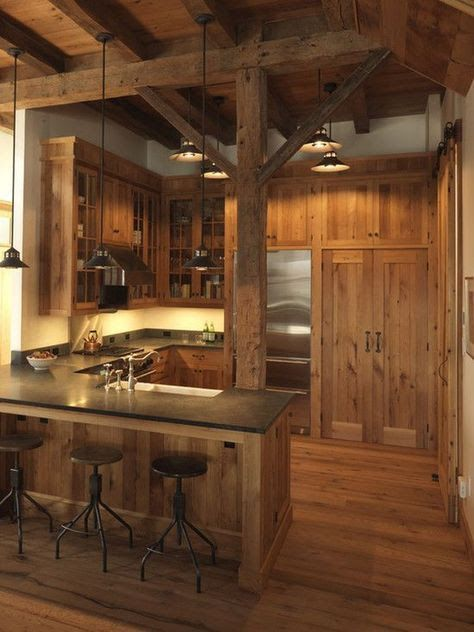 pin by kevin carbis on kitchen rustic cabin kitchens barn kitchen rh pinterest com