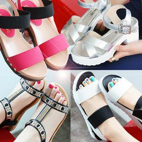 Gmarket - T strap sandals / metal trim / cushioned / flat / anti...