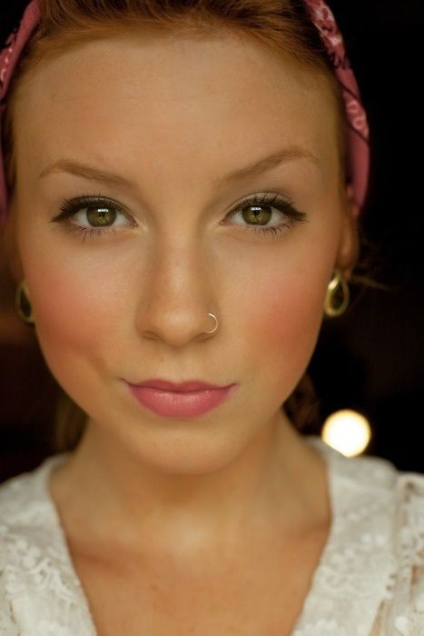 Girl Wearing Nose Hoop, Gold Earrings, A Bandanna & Soft Makeup  lp-nothing-to-wear:    Soft Monday makeup.