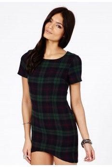 Chailai Flannelette Plaid Shift Dress In Deep Green