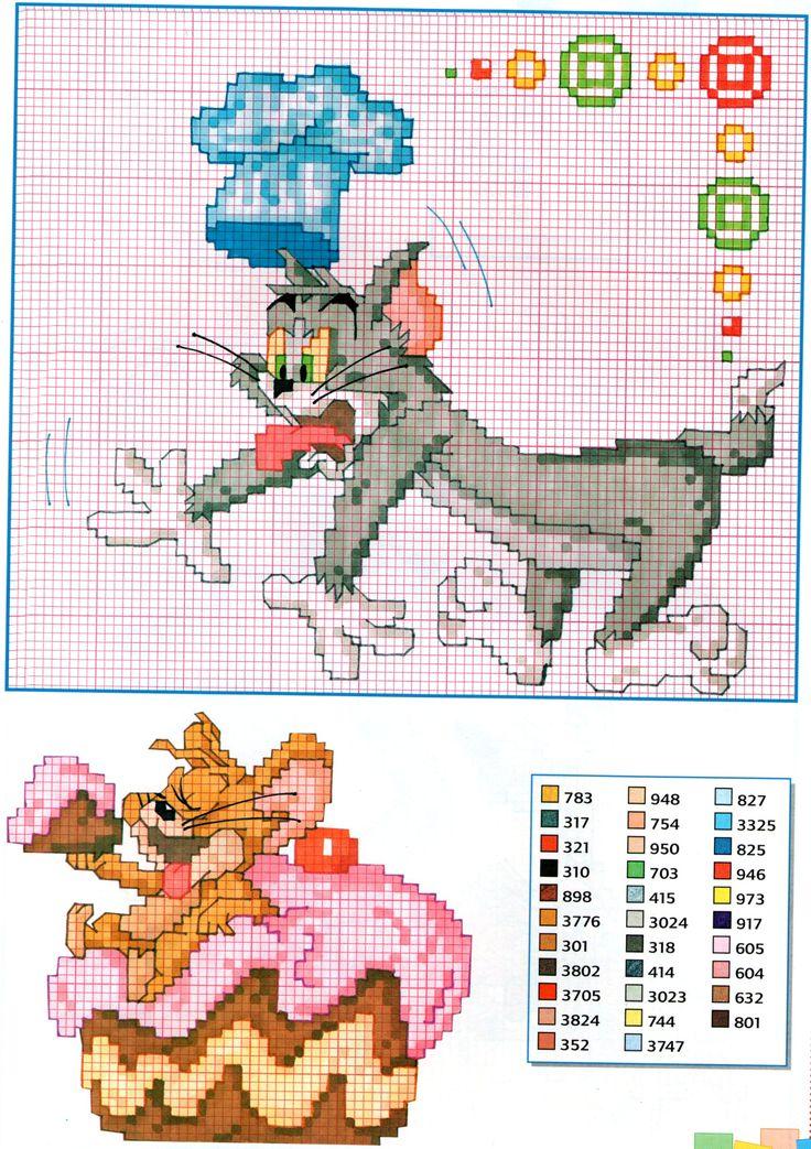 Tom e Jerry in cucina punto croce - magiedifilo.it punto croce uncinetto schemi gratis hobby creativi