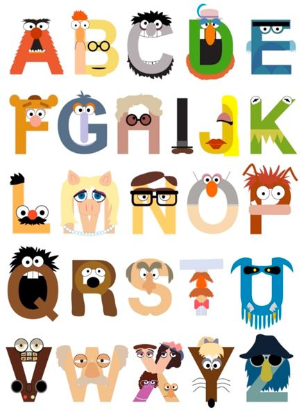 Muppet alphabet :) For my classroom. Dont care if 5th graders already know their alphabet.