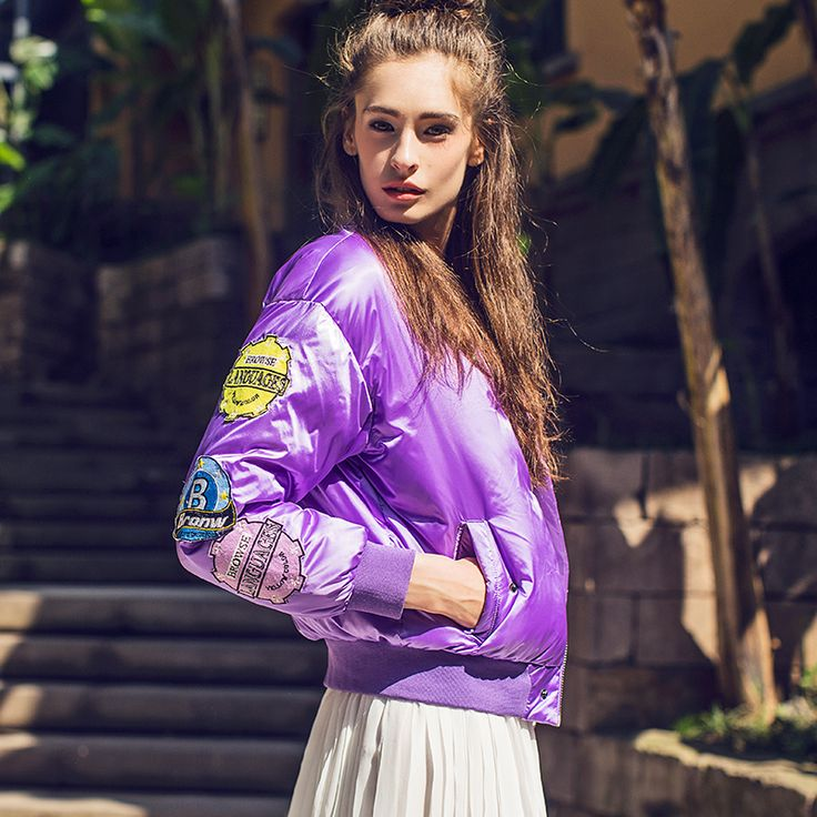 Find More Down & Parkas Information about NEW ARRIVAL 2016 winter women new fashion purple down jacket winter coat women with badge Brand design,High Quality designer winter coats women,China down winter coat women Suppliers, Cheap winter coat women from MOMO,LIN on Aliexpress.com