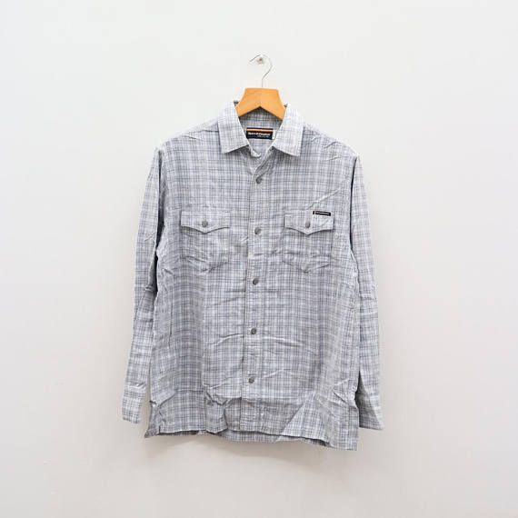 Vintage T&C Town And Country Surf Designs Enjoy Surfin Life Gray Flannel Buttondown Size L