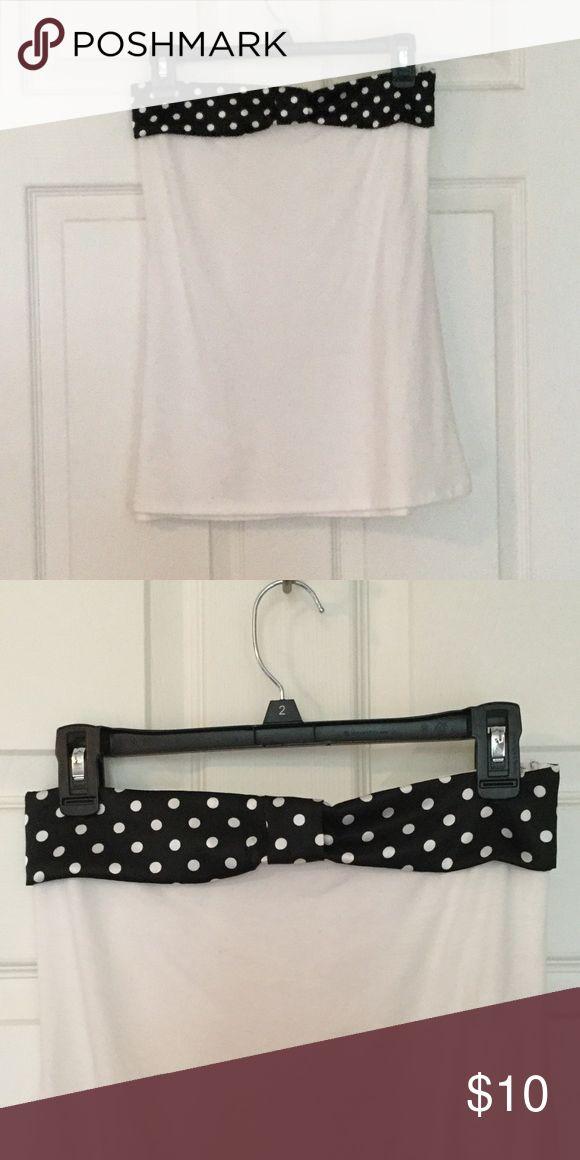 Polka dot bow top tube top White, black and white polka dot bow top, loose fit through body Tops Blouses