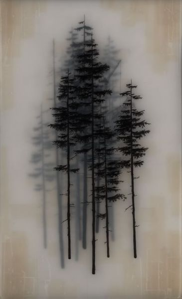 Black trees on vellum then stacked and framed.