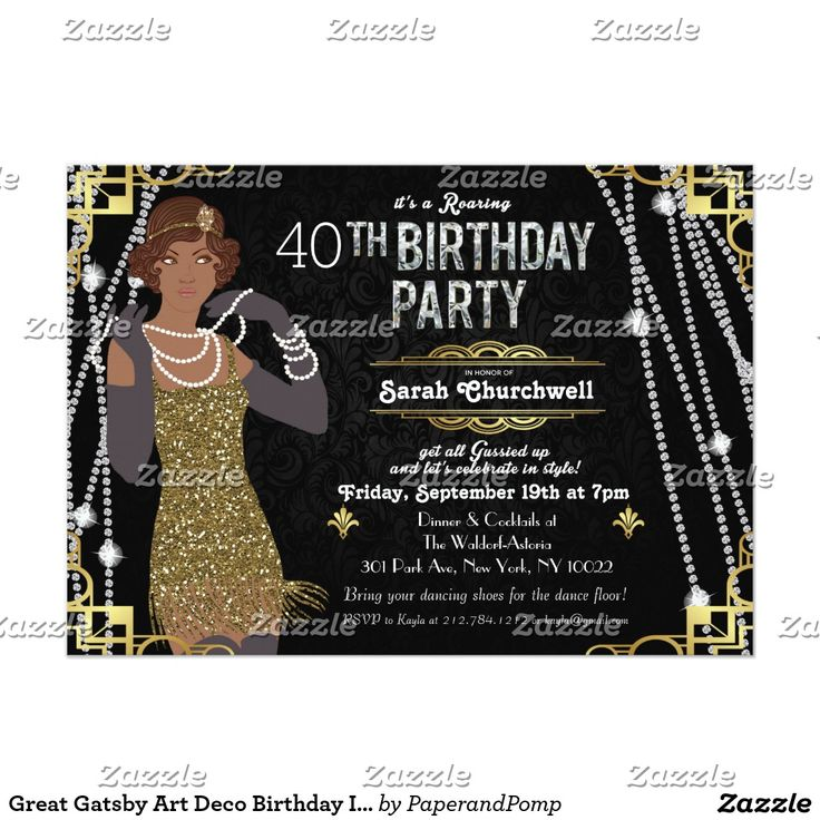 bridal shower invitation quote ideas%0A Shop African American Flapper Sweet    Invitation created by PaperandPomp