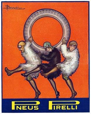 Vintage Italian Posters ~ #illustrator #Italian #posters ~ Pneus Pirelli 1920