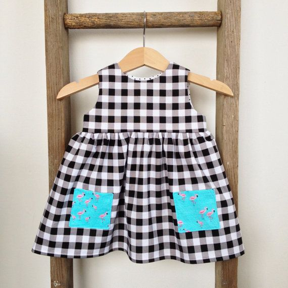 Baby Brea Dress   Black and White Gingham / Flamingo  by threexfour