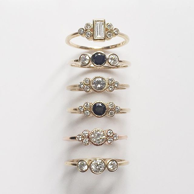 Vale Jewelry Ophelia, Emilia and Othello rings with black and white diamonds