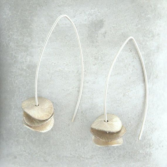 ORCHID earrings. Three silver petals on an eye shaped silver wire.