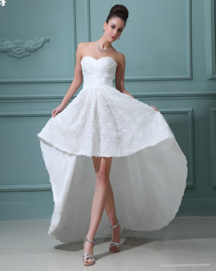 Asymmetrical Sweetheart Mini Wedding Dress  A-line/Princess, High-Low, Natural,