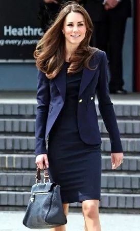 I like the matching coat/dress. Navy blue would work well with my red hair.
