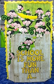 Monkey/Jungle Themed Back to School Bulletin Board! Instead of school replace with reading is more fun...