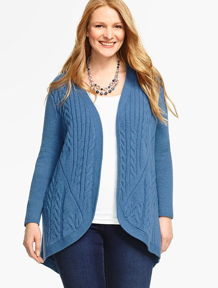 Mixed-Cable Cocoon Cardigan | Talbots