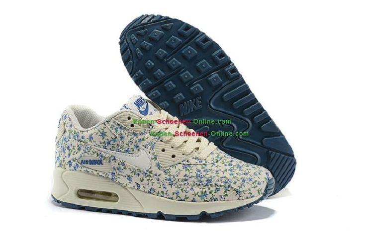 Dames Schoenen Nike Air Max 90 Bloemen Beige/Blauw/Groene