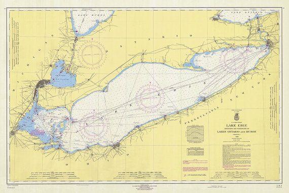 1964 Nautical Chart of Lake Erie | Dreams... | Nautical ...