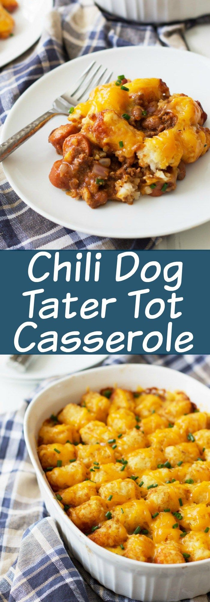 Chili Dog Tater Tot Casserole is a twist on a family favorite recipe. Chili, cheese, hot dogs, tater tots....need I say more?!?! | www.countrysidecr...