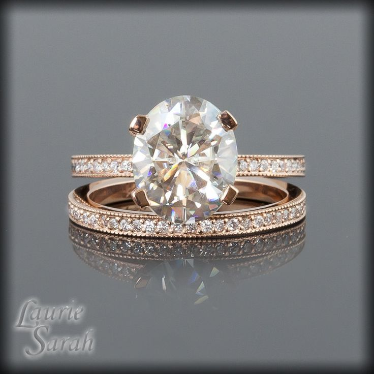 Moissanite And Diamond Engagement Ring In 14kt Rose Gold With Matching Wedding Band Ls1899