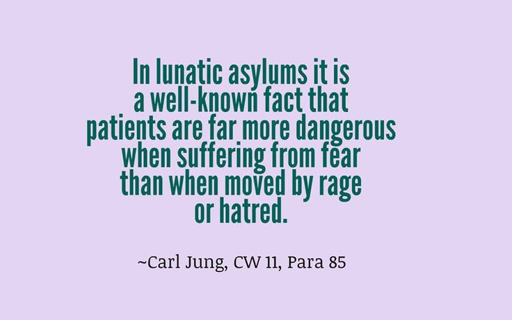 In lunatic asylums it is a well-known fact that patients are far more dangerous when suffering from fear than when moved by rage or hatred. ~Carl Jung, CW 11, Para 85