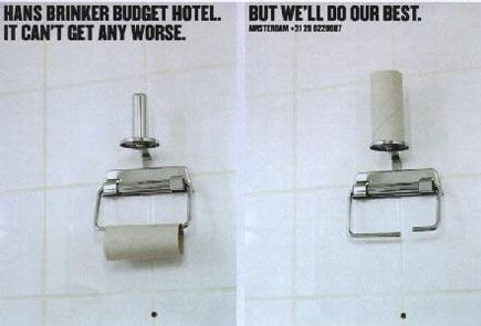 Hans Brinker budget hotel ad