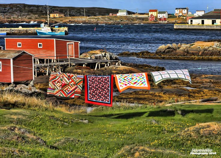 Quilts on the clothesline in Tilting, Newfoundland, Canada.
