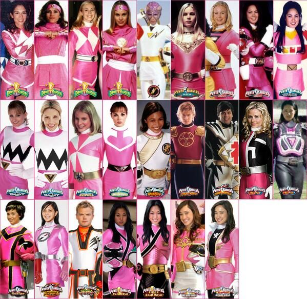 Just for the record that is all the pink rangers, there is one crimson and three-four white ranger in this photo