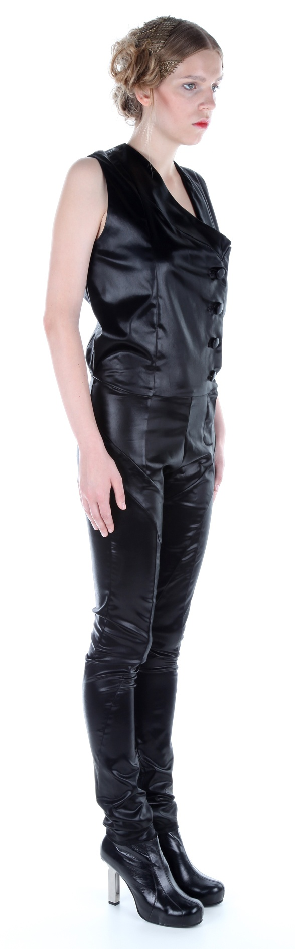 Side view: Jumpsuit ( silk satin), shoes ( leather, stainless-steel heel)