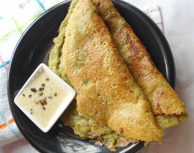 Pesarattu is one of Andhra's delicacies which is made with moong dal and no urad dal is added to it.It is nutritious and high in fibre. ...
